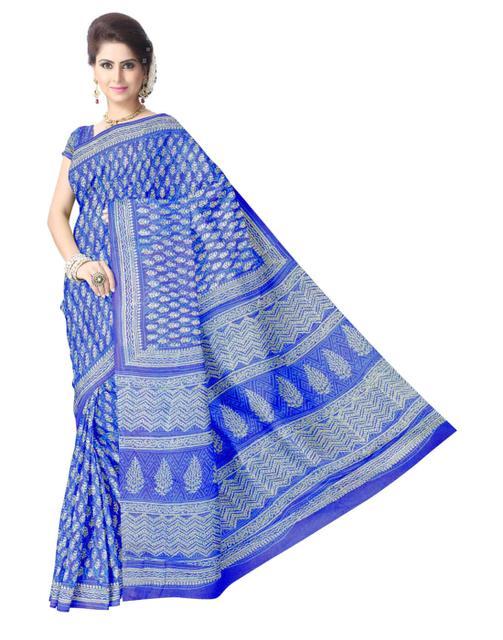 Bagh Print Cotton Saree-Blue