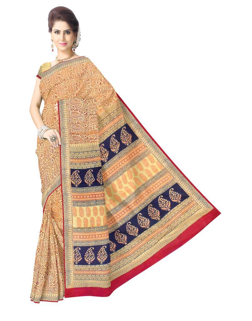 Bagh Print Cotton Saree-Multicolor
