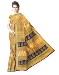 Bagh Print Cotton Saree-Yellow 1