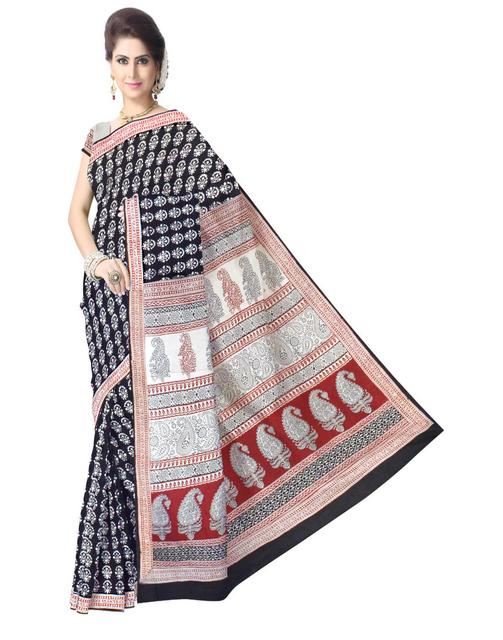 Bagh Print Cotton Saree-Black&White