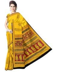 Bagh Print Cotton Saree-Yellow 2