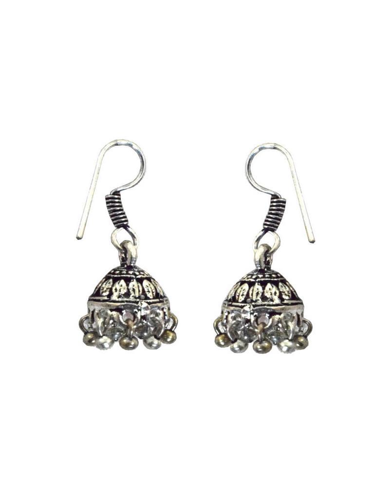 Oxidized Metal Jhumkas/Jhumkis-Silver Beads