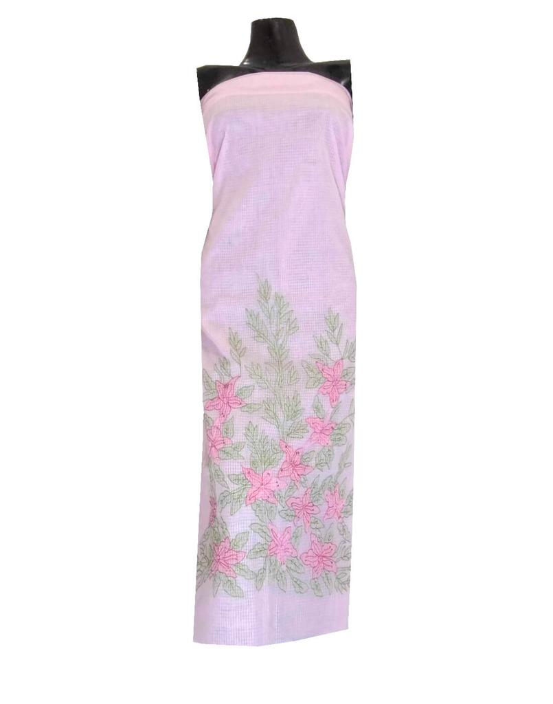 Kota Cotton Shadow Work Kurta -Light Pink