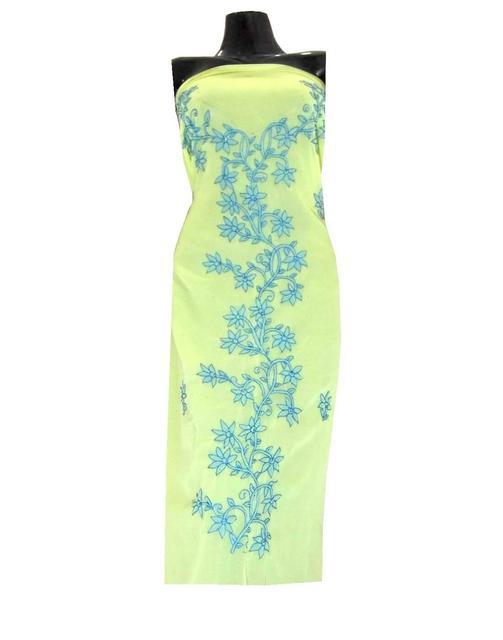 Georgette Shadow Work Kurta-Yellow&Turquoise