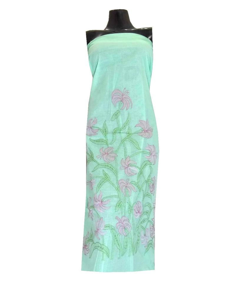 Kota Cotton Shadow Work Kurta -Sea Green