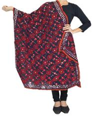 Phulkari Work Georgette Dupatta-Black&Red