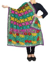 Phulkari Work Georgette Dupatta-Dark Green