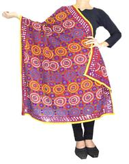 Phulkari Work Georgette Dupatta-Red 1