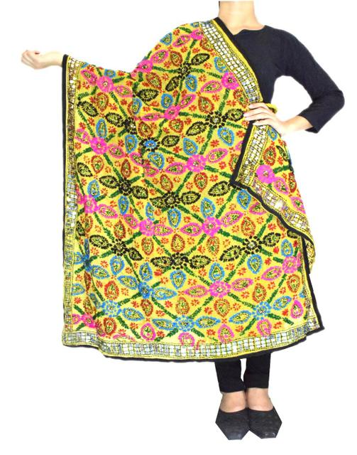 Phulkari Work Georgette Dupatta-Yellow 1
