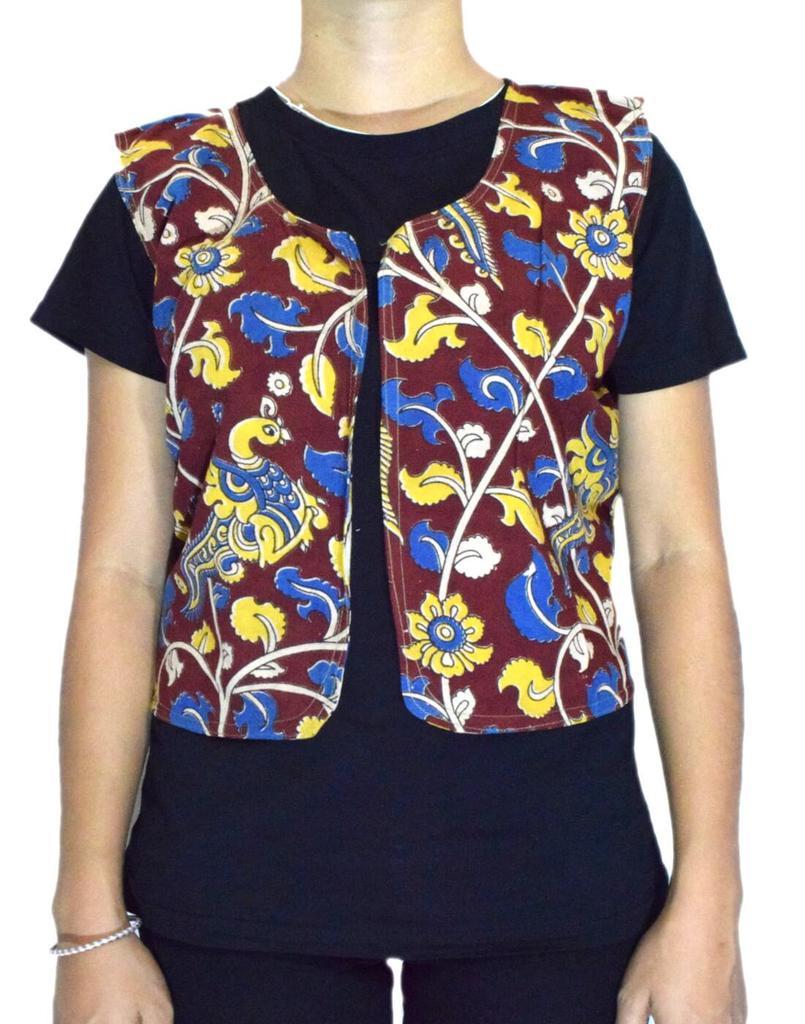 Reversible Kalamkari Jacket in Cotton- Pattern 6