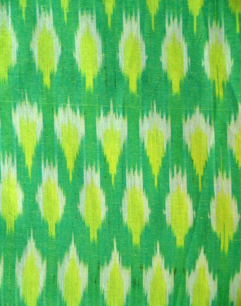Ikat Cotton Running Material- Light Green (1 mtr/2.5 mtr)