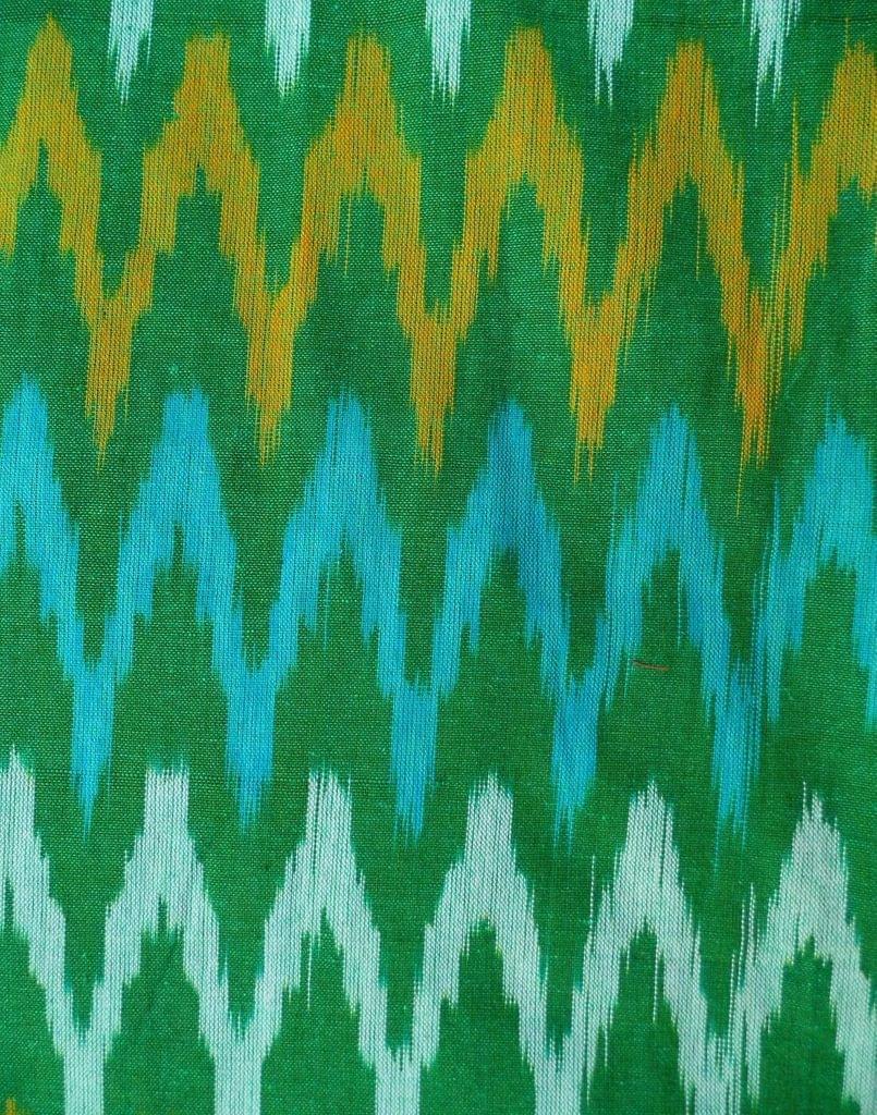 Ikat Cotton Running Material-Green (1 mtr/2.5 mtr)