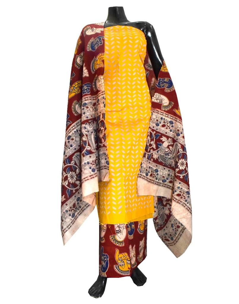 Kalamkari Block Print Suit with Cutwork Cotton Kurta-Yellow&Red