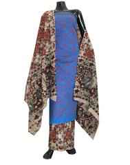 Kalamkari Block Print Suit with Cutwork Cotton Kurta-Blue&Red