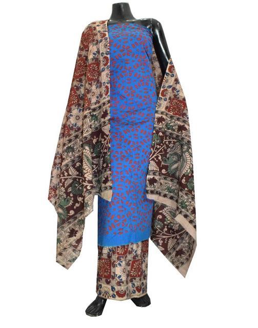 Kalamkari Block Print Suit with Cutwork Cotton Kurta-Blue&Red