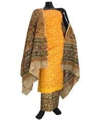 Kalamkari Block Print Suit with Cutwork Cotton Kurta-Yellow&Rust