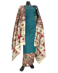 Kalamkari Block Print Cotton Suit-Dark Sea Green