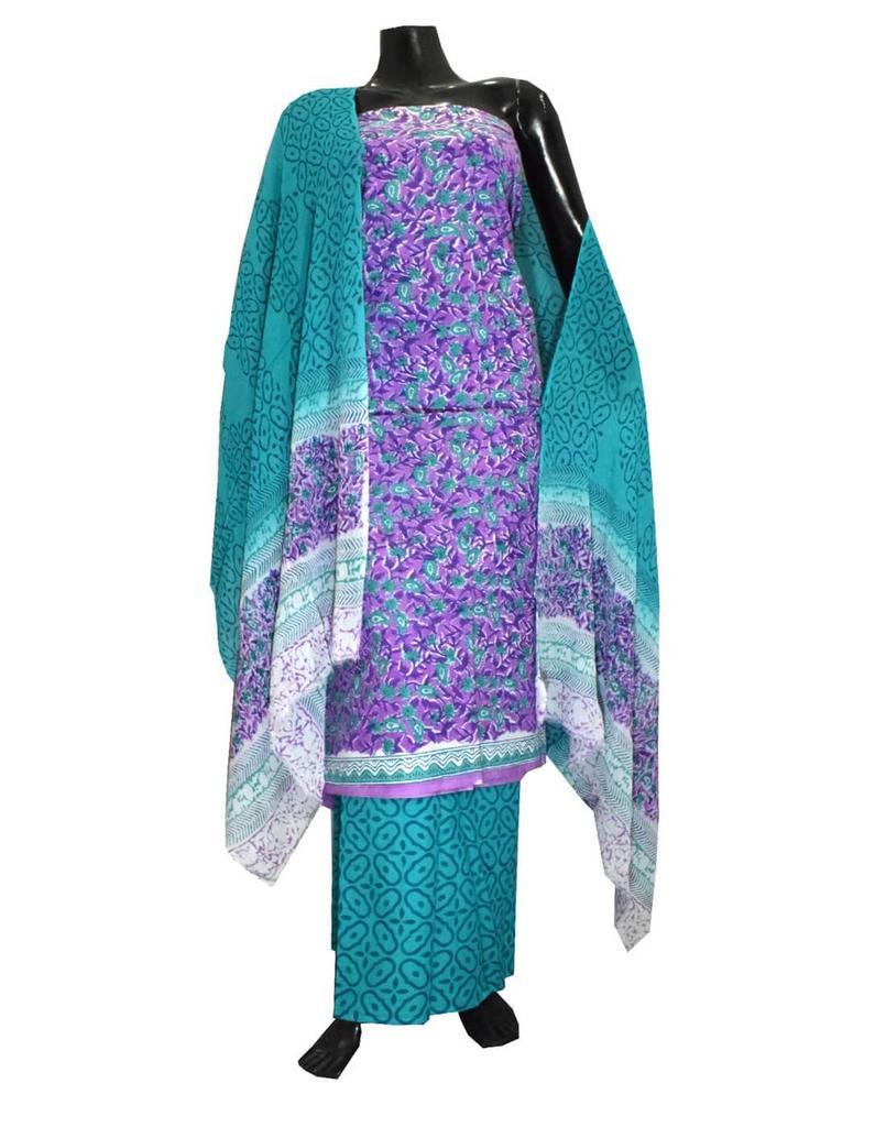 Bagru Print Cotton Suit-Purple&Sea Green