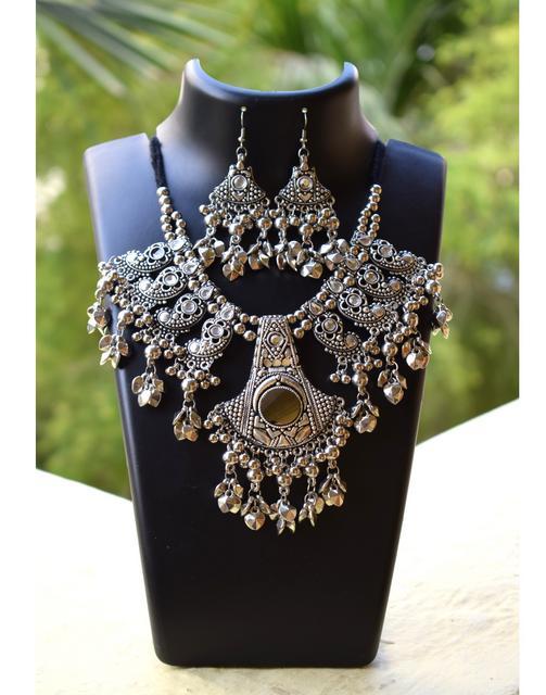 Oxidized Metal Jewellery Set- White Beads