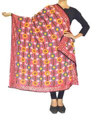 Phulkari Work Georgette Dupatta-Light Pink