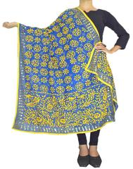 Phulkari Work Georgette Dupatta-Yellow&Blue