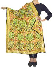 Phulkari Work Georgette Dupatta-Yellow 2