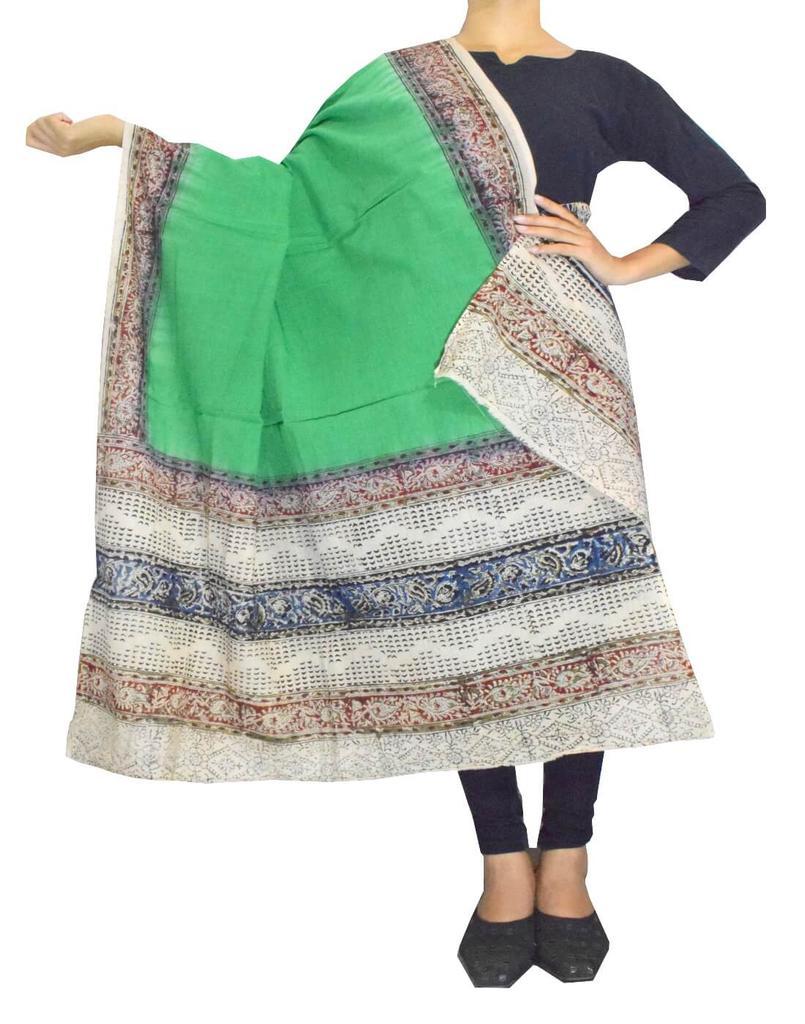 Kalamkari Hand Block Print Cotton Dupatta-Green