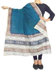 Kalamkari Hand Block Print Cotton Dupatta-Sea Blue