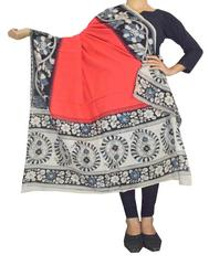 Kalamkari Hand Block Print Cotton Dupatta-Red 1