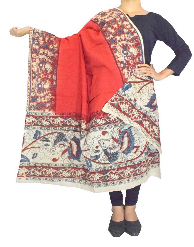 Kalamkari Hand Block Print Cotton Dupatta-Red