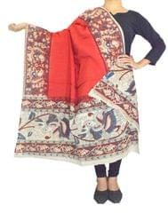 Kalamkari Hand Block Print Cotton Dupatta-Red