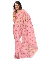 Shadow Work Saree in Kota Cotton-Watermelon Pink