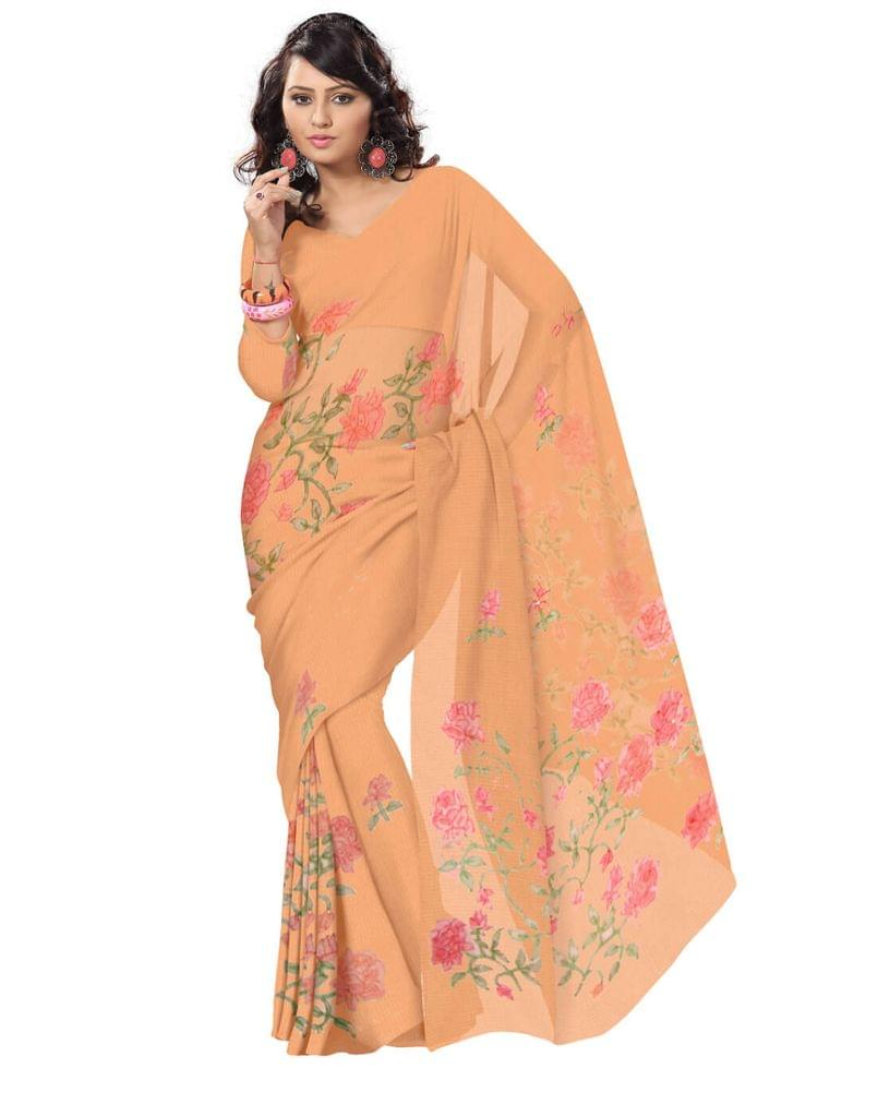 Shadow Work Saree in Kota Cotton-Coral