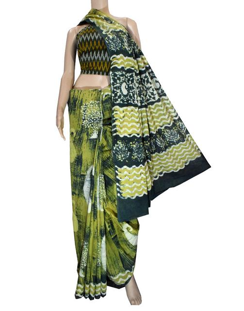 Dabu Print Saree in Cotton With Ikat Blouse- Olive Green