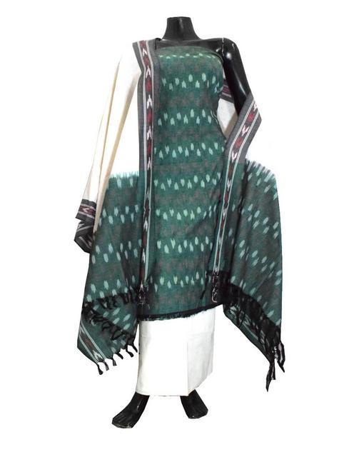 Handloom Cotton Ikat Salwar Suit-White&Olive Green