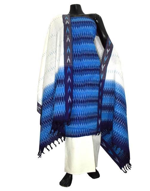 Handloom Cotton Ikat Salwar Suit-White&Turquoise