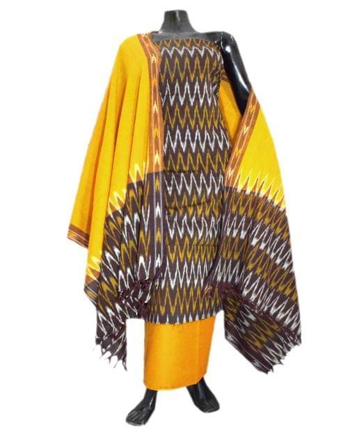 Handloom Cotton Ikat Salwar Suit-Yellow&Brown