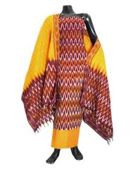 Handloom Cotton Ikat Salwar Suit-Red&Yellow