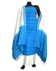 Handloom Cotton Ikat Salwar Suit-Turquoise&White 2