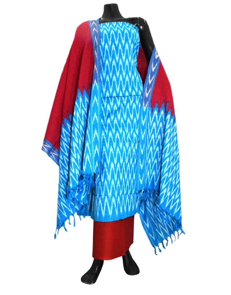 Handloom Cotton Ikat Salwar Suit-Maroon&Turquoise