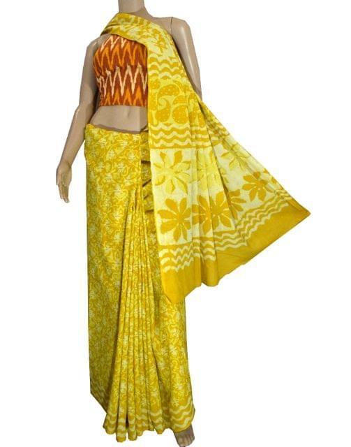 Dabu Print Saree in Cotton With Ikat Blouse- Yellow