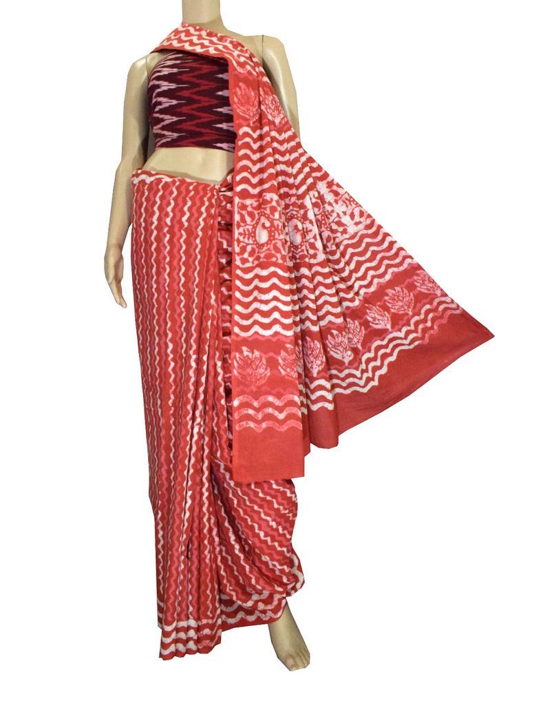 Dabu Print Saree in Cotton With Ikat Blouse- Rust