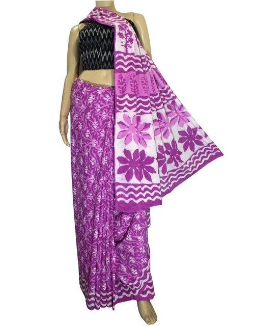 Dabu Print Saree in Cotton With Ikat Blouse-Purple