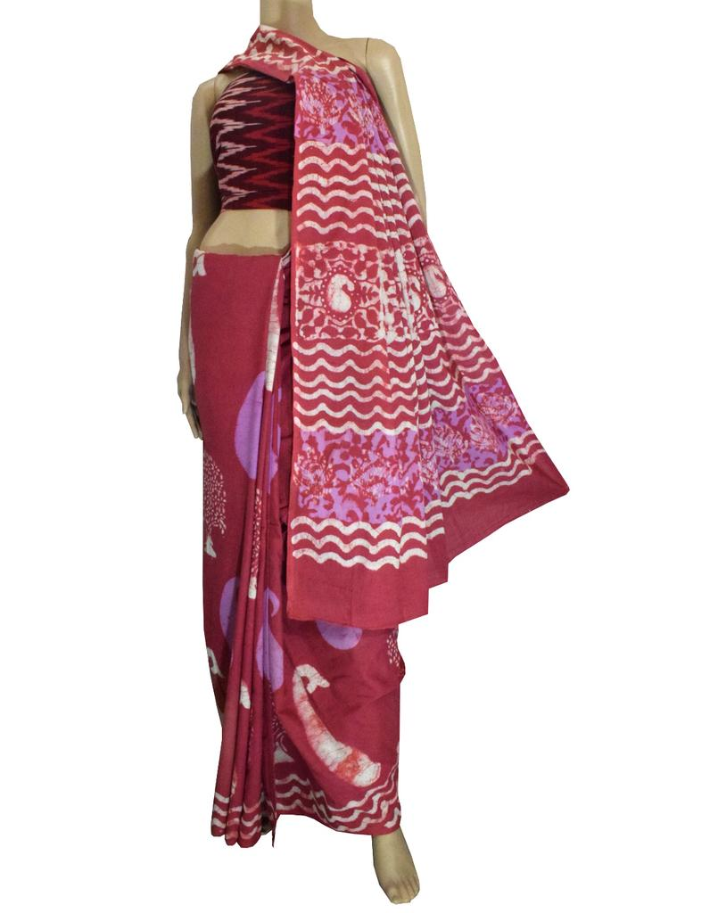 Dabu Print Saree in Cotton With Ikat Blouse- Burnt Pink