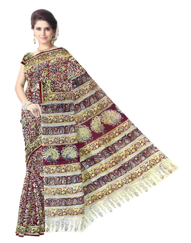 Kalamkari Saree in Cotton-Pattern 3