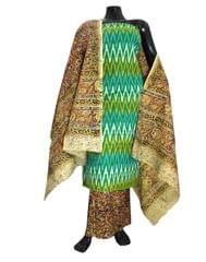 Ikat & Kalamkari Block Print Cotton Suit-Multicolor