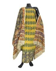 Ikat & Kalamkari Block Print Cotton Suit-Yellow&Mehendi green