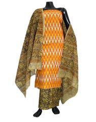 Ikat & Kalamkari Block Print Cotton Suit-Rust&Orange