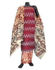 Ikat & Kalamkari Block Print Cotton Suit-Maroon
