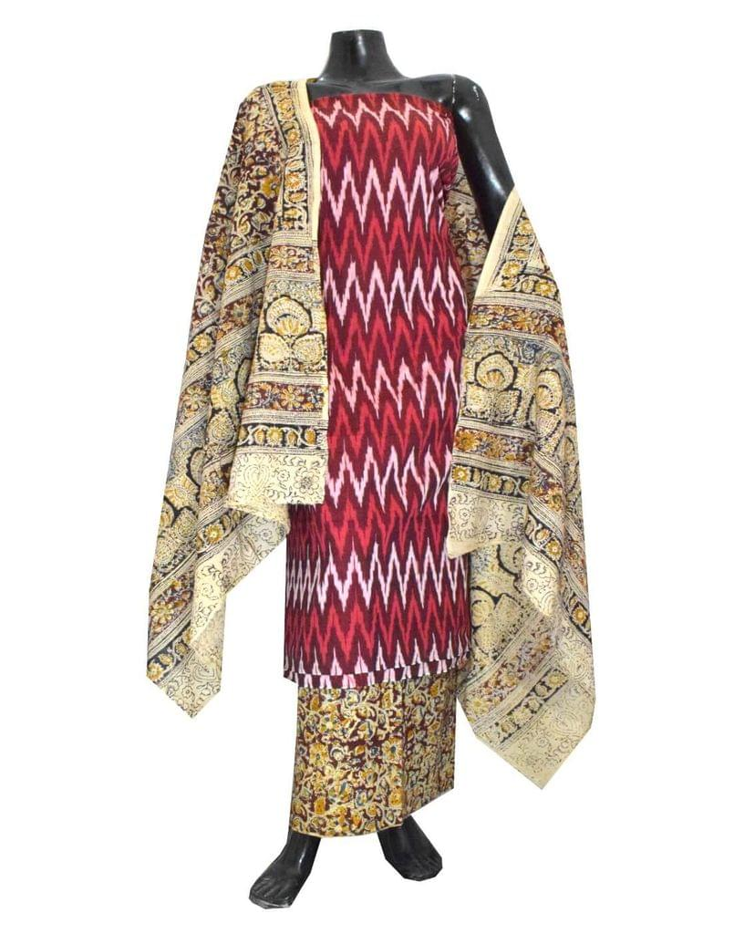Ikat & Kalamkari Block Print Cotton Suit-Maroon 1